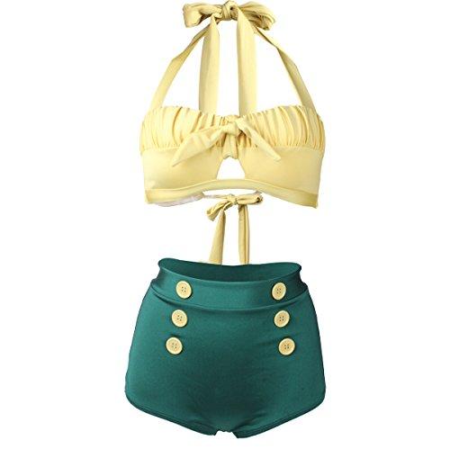 Laorchid Fashion Damen Bauchweg Hoher Taille Badeanzug Bikini Set Push Up Gelb & Grün S