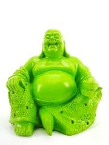 Figurine en pierre 15 cm motif bouddha heureux vert fluo couleur brillante décoration de jardin résistant aux intempéries feng shui nEO7
