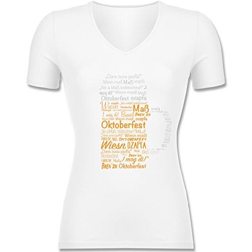 Shirtracer Oktoberfest Damen - Oktoberfest Maß - Tailliertes T-Shirt mit V- Ausschnitt für
