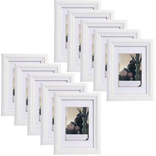 10er Set Bilderrahmen Fotogalerie, 9428-10 , Holz Rahmen , mit Glasscheibe , mit Passepartout, Artos Weiß, 20x30 cm