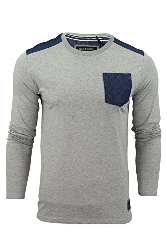 Herren T-Shirt Von Brave Soul 'Stotch' Langärmlig Light Grey