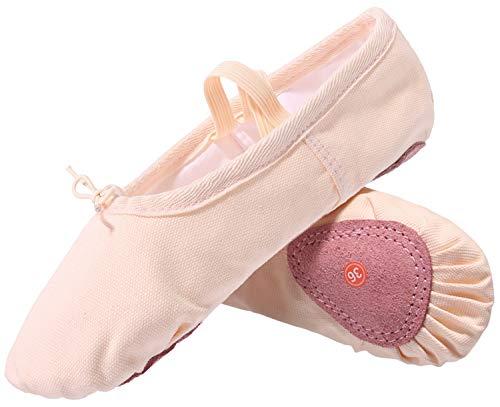 L-RUN Mädchen Damen Ballett Tanzschuhe Yoga Gymnastic Flache Schuhe Beige, 8 UK Frauen (Ballett Flach Kind Schuhe)