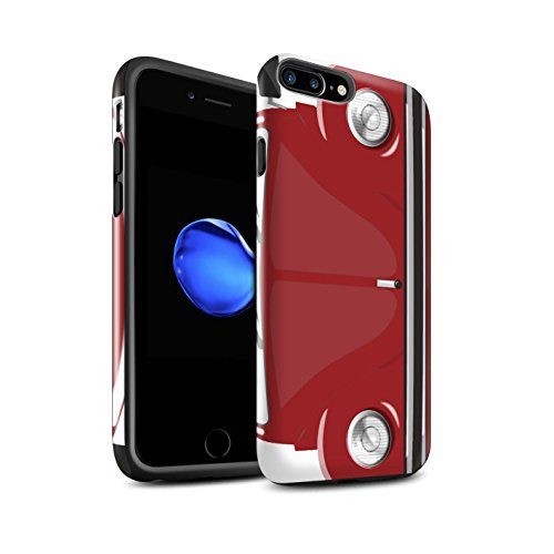STUFF4 Glanz Harten Stoßfest Hülle / Case für Apple iPhone 8 Plus / Leuchtend Orange Muster / Retro Beetle Kollektion Afrikanisches Rot