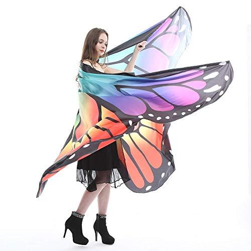 Chejarity Bauchtänzerin Flügel Wasserdicht Professionelle Outfit Kostüm Große Schmetterling Stützen Bühnenperformance Kleidung für Erwachsene Halloween Cosplay Festival Kostüm (260 * 150CM, Lila)