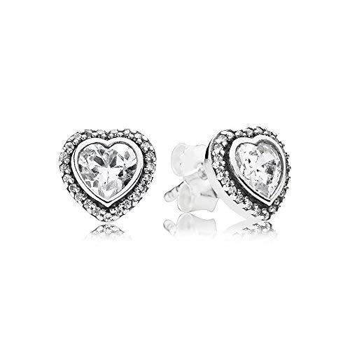 Bluebird orecchini a lobo amore scintillante in argento sterling 925, zirconia cubica