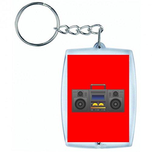 "Schlüsselanhänger \""BOOMBOX- GHETTO BLASTER- AUDIO PLAYER- CD SPIELER- MUSIK PLAYER- RADIO- BLÄSER- STEREO- GHETTO- MUSIK- BOX- RETRO\"" in Rot | Keyring - Taschenanhänger - Rucksackanhänger - Schlüsselring"