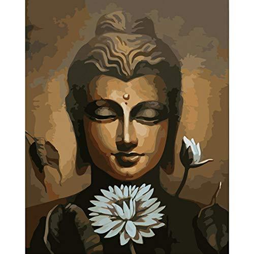 DIY Ölgemälde Malen nach Zahlen Weißer Lotos Der Buddha-Statue 40 x 50cm Leinwand Gemälde für Erwachsene und Kinder, Enthält Acrylfarben und 3 Pinsel(Kein Rahmen)