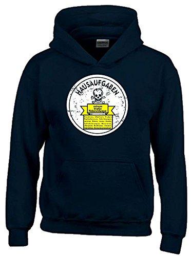 HAUSAUFGABEN - NEBENWIRKUNGEN : Brechreiz, Übelkeit, Schlafstörungen, nervöses Zittern, Atemnot, innere Unruhe, Herzrasen... Kinder HOODIE SWEATSHIRT MIT KAPUZE schwarz-weiss, Gr.164cm (Hausaufgaben-kinder-t-shirt)