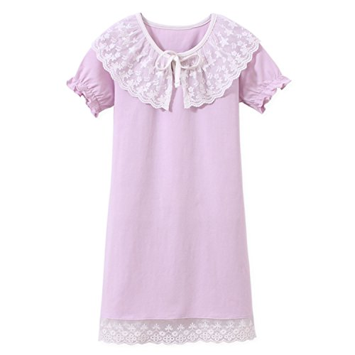 Aoskera ragazze pizzo camicia da notte cotone indumenti da notte viola per 11-12 anni