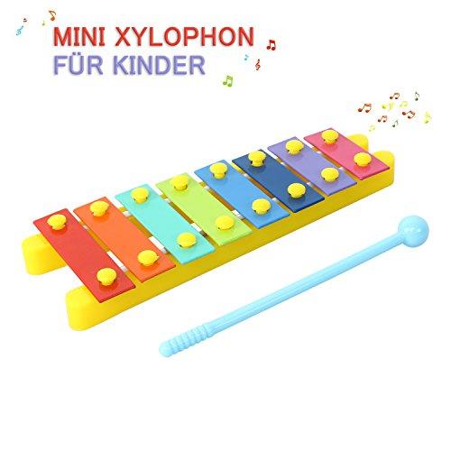 CRZKO Xylophon Kinder, Mini Schlaginstrument Musikinstrument Spielzeug Geschenke Glockenspiel für Babys,Kinder und Kleinkinde mit Hellen bunten Tasten (Musikinstrumente Mini Spielzeug)