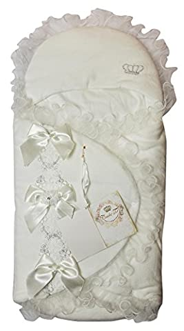 Couche Tot Baby Girls Padded Wrap Swaddle Sleeping Bag with Embroidery, Bows, Diamonte & Organza Trim (Ivory)