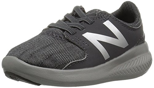 New Balance Boys' Coast v3 Hook and Loop Running Shoe, Grey/Metallic, 2 W US Infant