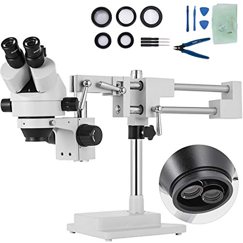 VEVOR Microscopio Stereo Simul-Focale 3.5X-90X Microscopio Stereo Trinoculare 360 ° Orientabile con Doppio Braccio