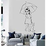 Ragazza con gatto Adesivi murali in vinile e ombrello Adesivo da parete romantico Kids Decor Adesivo Decor Ragazze Kids Room Mural 40x68cm