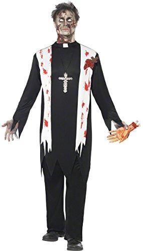 or Zombie Priester Pfarrer Halloween Kostüm schwarz-Weiss-rot L ()