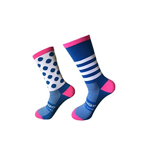 Kbsin212 Sportsocken Unisex Socken Outdoor Lässige Socken Radfahren Socken Links und Rechts Füße Wave Point Gestreiften Bikes Socken Lauf Basketball Socken - Rechts-links-socken