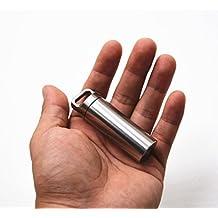 Douperltd Keychain Pill Fob, grande capacità, struttura in acciaio INOX ermetico impermeabile pillola supporti esterni Dry box 7/25,4cm diametro