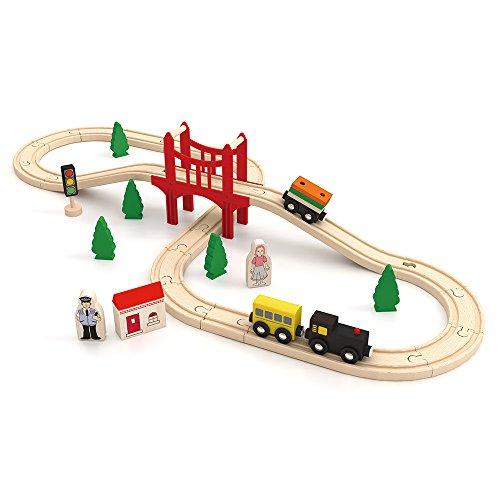 Eisenbahn 8 Layout Bahnspiel Set Hölzerne 37 Stück Lernspielzeug Schienenbahn Achterbahn Holzeisenbahn für Kinder ab 3 Jahre Alt