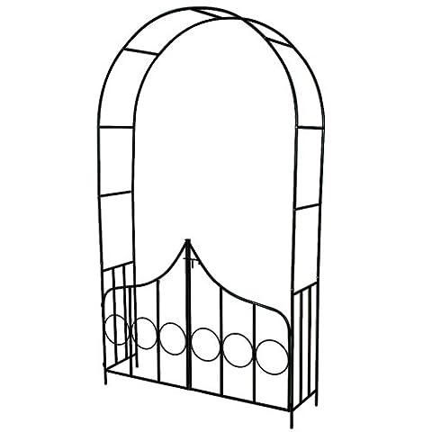 TecTake® Rosenbogen Torbogen Rankhilfe mit Tür Spalier Tor Rosen Bogen Metall (Freistehende Tor)