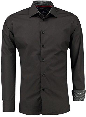 Barbons PREMIUM Herren-Hemd Slim-Fit tailliert / für Anzug Freizeit Business / 405 Schwarz XL