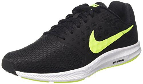 Nike Herren Downshifter 7 Laufschuhe, Schwarz (Noir/Blanc/Volt), 45 EU (Herren Laufschuhe 7)