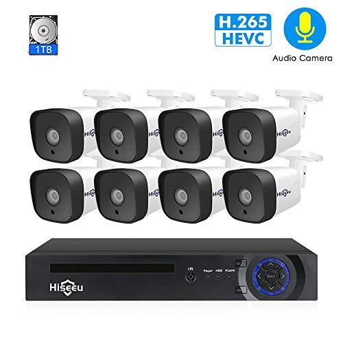 WANGOFUN Outdoor-Überwachungskamera-System mit 8PCS 2MP Indoor/Outdoor Wasserdichten IP-Kameras mit Nachtsicht Easy Remote Access Motion Alert Motion Alert Kit