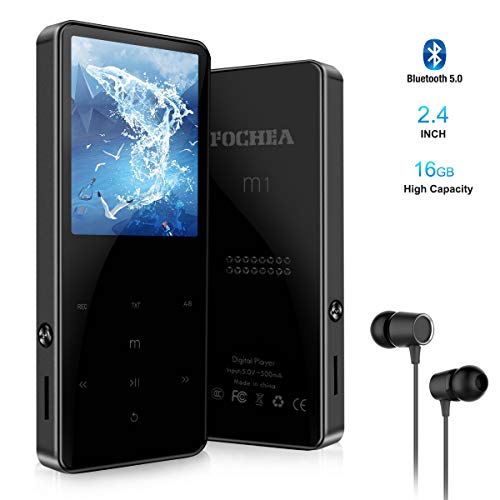MP3 Player FOCHEA 16GB Bluetooth MP3 Player Tragbarer verlustfreier Klang 2.4 Zoll LCD Bildschirm Musik Player MP3 Spieler 40 Stunden Wiedergabe mit Kopfhörer, Speicher Erweiterbar bis 128GB