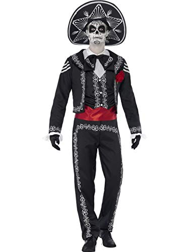 costumebakery - Herren Männer Kostüm Tag der Toten Senor Anzug mit Hut, Day of The Dead Senor Suit, perfekt für Halloween Karneval und Fasching, M, Schwarz