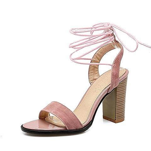 Cross Strap Sandals,Épais Avec Des Talons De Peep-toe Gommage-A Longueur du pied=23.8CM(9.4Inch)