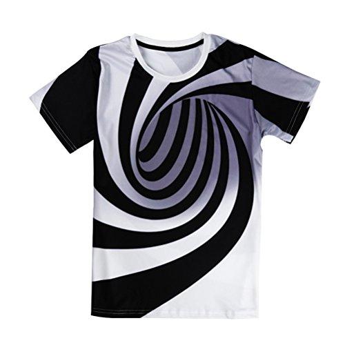 Black and White Vertigo Hypnotic Druck T-Shirt Unisex Kurzarm T-Stücke Männer Frauen Tops (Vertigo Rucksack)