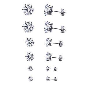 6 Paare Ohrstecker set Edelstahl mit Zirkonia für Damen Frauen-Ohrringe Silber Set 5mm 6mm 8mm
