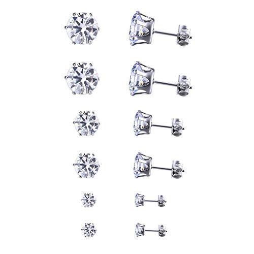 6 Paare Ohrstecker set Edelstahl mit Zirkonia für Damen Frauen-Ohrringe Silber Set 4mm 6mm 8mm (6 Paare) (Ohrringe Kleine Strass)