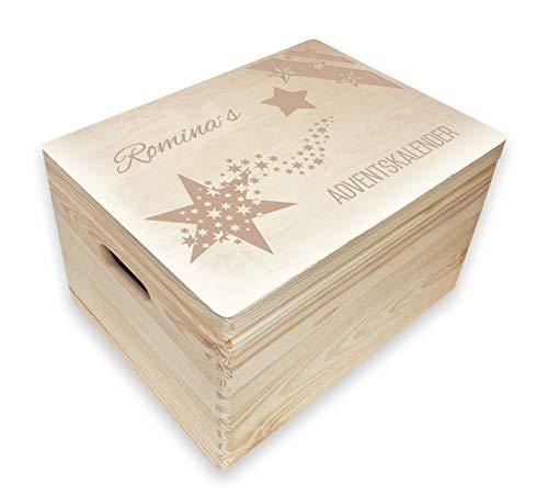MidaCreativ personalisierter Adventskalender zum befüllen Holz-Box, Gr. 3 m. Griffen Kiefer, incl. Auswahl-Lasergravur (A5)