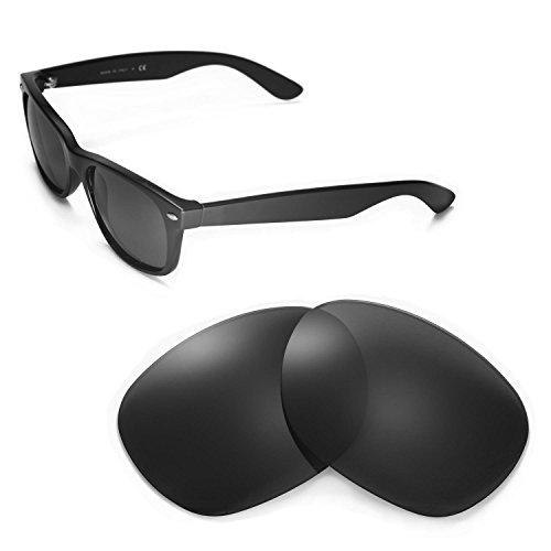 Walleva Ersatzgläser für Ray-Ban Wayfarer 2132 55mm Sonnenbrille - Mehrfache Optionen (Schwarz)