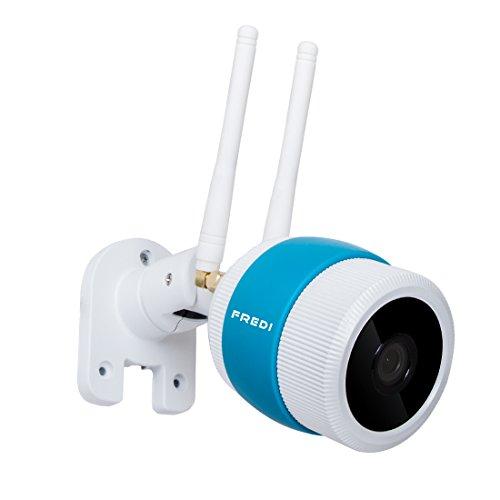 FREDI 720p Wlan IP Kamera/HD Sicherheitskamera für Außen/IP überwachungskamera/IP cam mit LAN & Wlan/Wifi für Outdoor,Bewegungserkennung,15m Nachtsichtfunktion,Slot für TF Karten mit max. 64GB und kompatibel mit Smartphones, Tablets und Windows PC (Webcam Deckenmontage)
