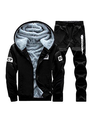 Herren Casual Plus SAMT Sportbekleidung Zip Hoodie Sweatshirt Mit Hose Trainingsanzug Zwei-Teilig Schwarz M