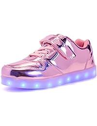 KHKUI-UK LED Zapatos con Luces Luminosas 7 Colores USB Carga Calzado de Deportes de Exterior Transpirable Antideslizante Aire Libre y Deporte Zapatillas de Gimnasia Walking Running Atletismo Sneakers