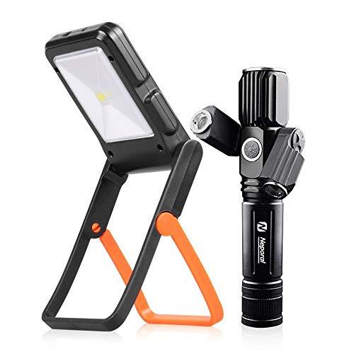 linterna led alta potencia con zoom de 500m&Portable Solar linterna camping Kit,Antorcha táctica de 5 modos & Luz de trabajo de 2 modos,para acampar, montar a caballo, pesca, senderismo, emergencia