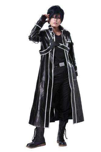 Sword Art Online Cosplay Fancy Cool Kostüm Anime Kirito Schwarz PU Leder Jacke mit Hemd Halloween Kleidung (Kostüm Mit Leder Jacken)