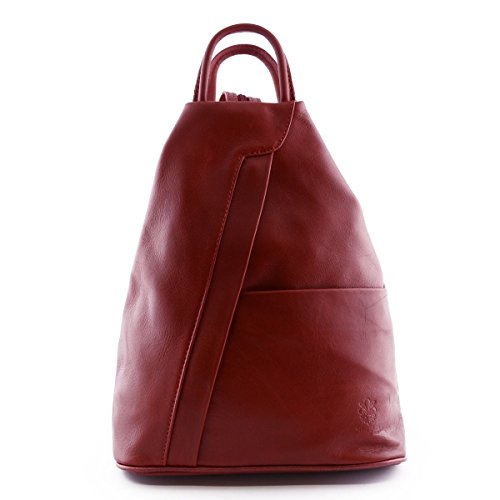 Dream Leather Bags Made in Italy toskanische echte Ledertaschen Damen Leder Rucksack Farbe Rot - Italienische Lederwaren - Rucksack -