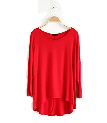 bust-50-modal-one-size-womens-long-batwing-sleeve-loose-plus-top-blouses-solid-color-tunic-shirt-tee
