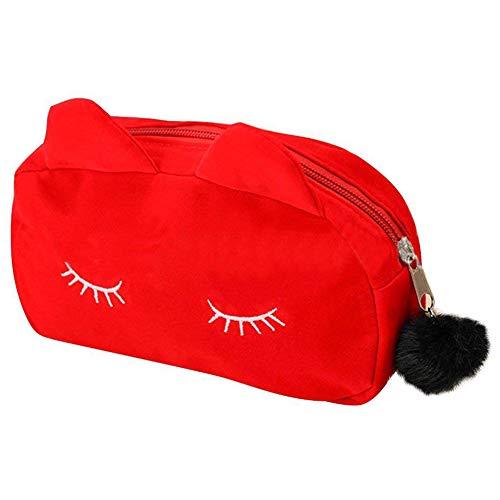 TOOGOO Motif De Bande Dessinée Portable De Maquillage Sac De Maquillage Sacs Stylo Etui Crayon Etui Rouge