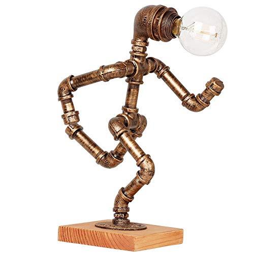 WSXXN Américain Rétro Lampe De Table, Designer En Bois Massif Créatif Gradation Café Bar Décoré De Bureau Lumière Personnalisé Pipes À Eau Robot Table