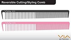 1stopsalon Reversible Cutting Styling Comb - Black (2-pack)