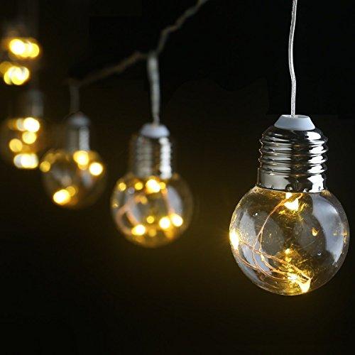 LE Birne Lichterkette 6M gelbwarmweiß 4.5w IP44 Wasserfest Kugel Kupferdraht Beleuchtung Deko für Party Weihnachten Dekolampe 25 Birnen