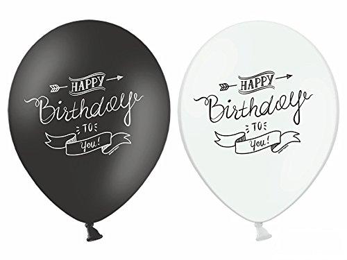 deCOnzept 6 coole Luftballons HAPPY BIRTHDAY weiß-schwarz (Schwarz Weiß-happy Und Birthday)