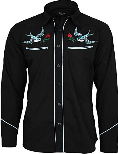 Relco Exklusiv Tätowierung Rockabilly Western Cowboy Schlucken Rose Bestickt Hemd - Schwarz, 3XL -