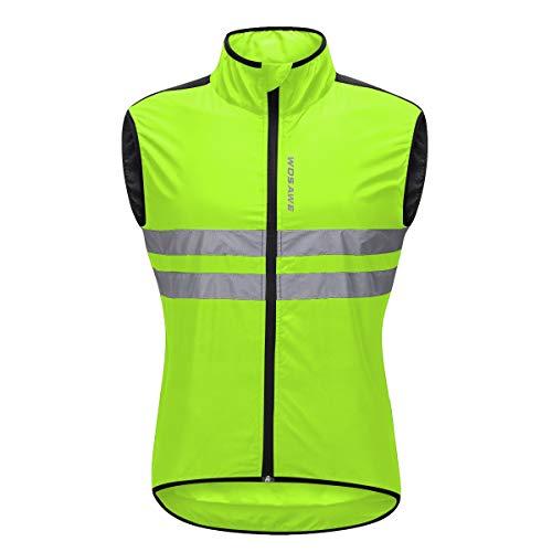 Comcrib Unisex Radsportweste Laufweste Leichte Windweste Reflektierende Atmungsaktiv Winddicht Sleeveless Sportjacke für Laufsport