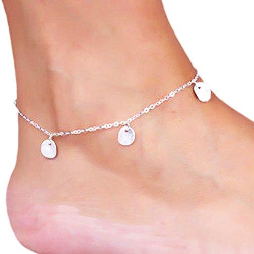 Hosaire Lentejuelas de plata la pulsera de tobillo / mujer brillante cadena Tobillera pulsera descalzo sandalia playa Joyería del pie