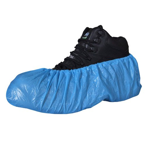 100 standard disposable shoe covers / overshoes. Floor, carpet, shoe protectors CPE 2.6g x 100. With Caresupermarket Pen